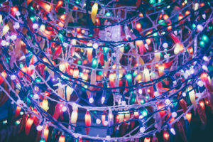 christmas lights hanging from the roof